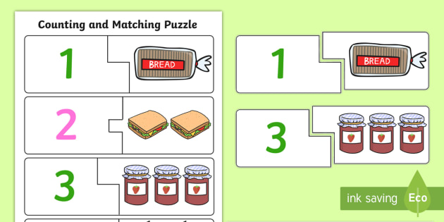 Food Themed Counting Matching Puzzle - counting aid, count, maths