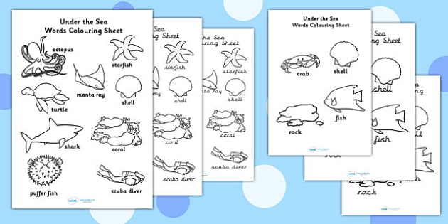 Under the Sea Words Colouring Sheet - colouring in, colour, words