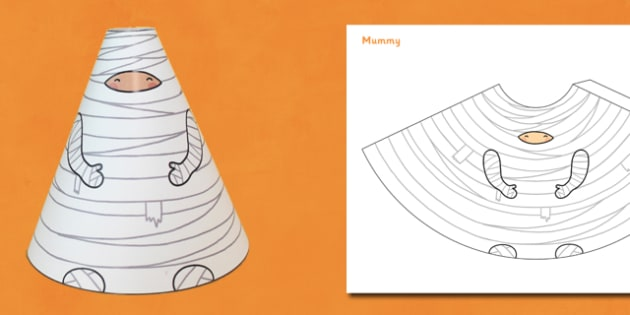 Halloween Cone Characters Mummy - halloween, mummy, cone, craft