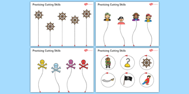 Pirate Themed Scissor Skills Activity Sheet Pack - pirate, themed, scissor skills, activity, sheets, fine, motor, worksheet