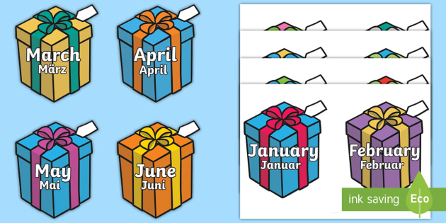 Months of the Year on Birthday Presents Poster English/German - Months of the Year on Birthday Presents - Months poster, Months display, Months of the year, birthda