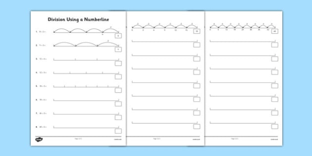 Division Using a Number Line - Written methods, number line, calculation