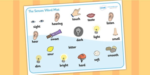The Senses Word Mat - Word mat, writing aid, Five Senses, Smell, sight, sound, hearing, taste, touch, ourselves, all about me, my body, senses, emotions, family, body, growth