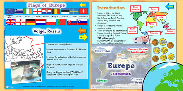 Europe Information PowerPoint - geography, continents, countries