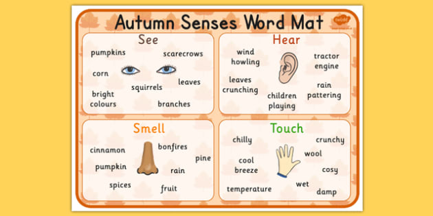 Autumn Senses Word Mat - seasons, weather, visual aid, keywords