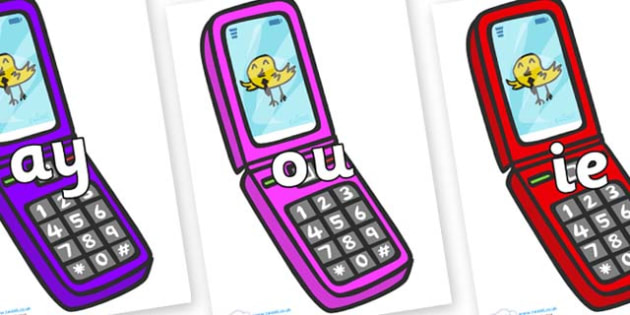 Phase 5 Phonemes on Mobile Phone - Phonemes, phoneme, Phase 5, Phase five, Foundation, Literacy, Letters and Sounds, DfES, display