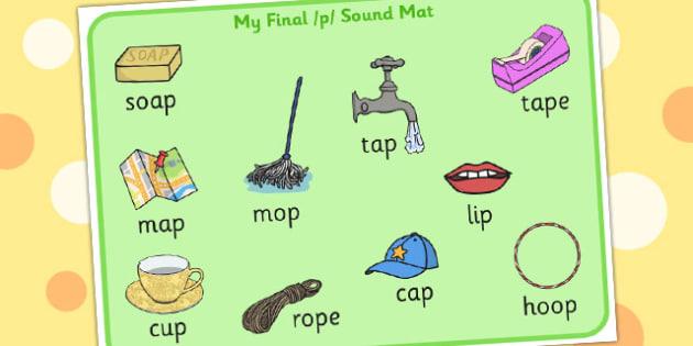 Final 'P' Sound Word Mat - sounds, words, mats, visual aid, visuals