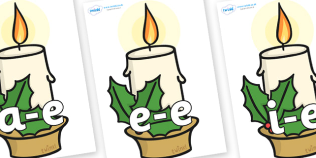 Modifying E Letters on Christmas Candle - Modifying E, letters, modify, Phase 5, Phase five, alternative spellings for phonemes, DfES letters and Sounds
