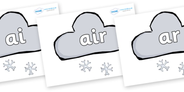 Phase 3 Phonemes on Weather Symbols (Snow) - Phonemes, phoneme, Phase 3, Phase three, Foundation, Literacy, Letters and Sounds, DfES, display