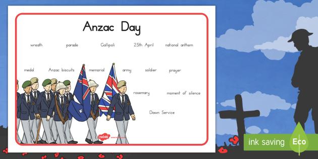 Anzac Day Word Mat - anzac day, word mat, keywords, keyword mat