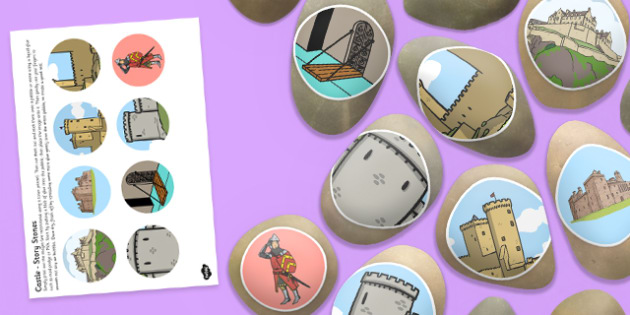Castles Story Stones Image Cut Outs - Story stones, stone art, painted rocks, storytelling, history, in the past