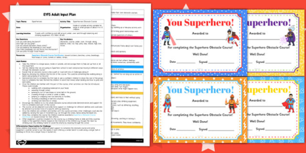 Superheroes Obstacle Course EYFS Adult Input Plan and Resource Pack