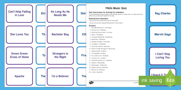 1960s Music Quiz Matching Cards - Singing, Tips, Elders, Activity Co-ordinators, Care Homes, Elderly Care, Quiz, Match, Singer, Song,