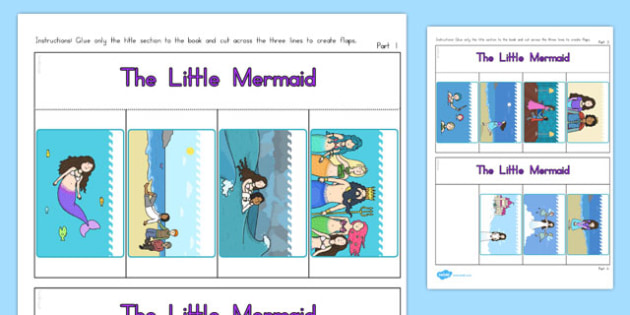 The Little Mermaid Story Writing Flap Book - australia, little mermaid