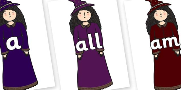 Foundation Stage 2 Keywords on Witches - FS2, CLL, keywords, Communication language and literacy,  Display, Key words, high frequency words, foundation stage literacy, DfES Letters and Sounds, Letters and Sounds, spelling