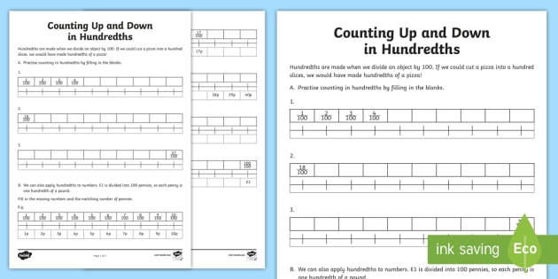 Counting Up and Down in Hundredths Activity Sheet - Learning from Home Maths Workbooks, hundredths, pennies, money, fractions of 100, divide by 100, wor
