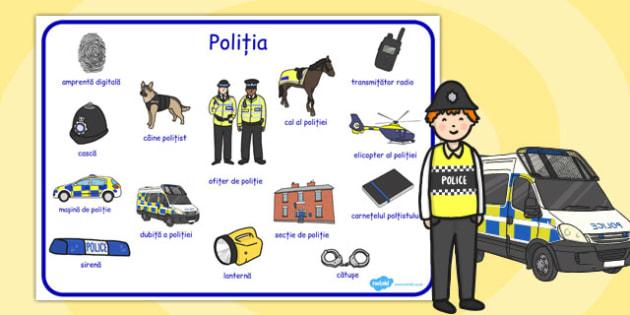 Poliția - Planșă cu vocabular - poliția, cartonașe,planșe cu vocabular, joc de rol, cuvinte, joc, limba română, meserii, lexic, romanian, materiale, materiale didactice, română, romana, material, material didactic