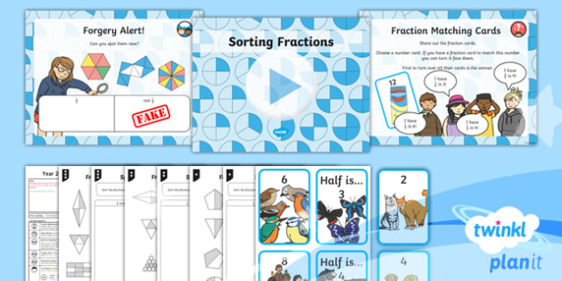 PlanIt Y2 Fractions Reasoning About Fractions Lesson Pack - Fractions, reasoning, fluency, problem solving, 1/2, 1/4, 1/3, 2/4 3/4, fraction of a shape or set,