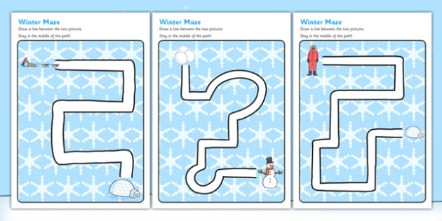 Winter Pencil Control Path Activity Sheets - winter, pencil control, pencil control worksheets, fine motor skills, fine motor worksheets, worksheets