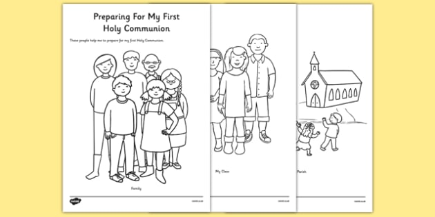 Preparing for First Holy Communion Colouring Sheet - communion, holy, first, first holy communion, prepare, preparation, activity, colouring, religion, christians, mass
