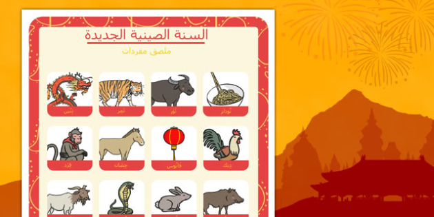 Chinese New Year Themed Vocabulary Poster Arabic - arabic, chinese new year, themed, vocabulary, poster, display