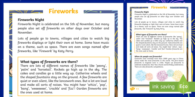 KS1 Fireworks Differentiated Fact File