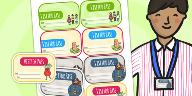 Editable Visitor Badges - visitor, badge, label, classroom badges