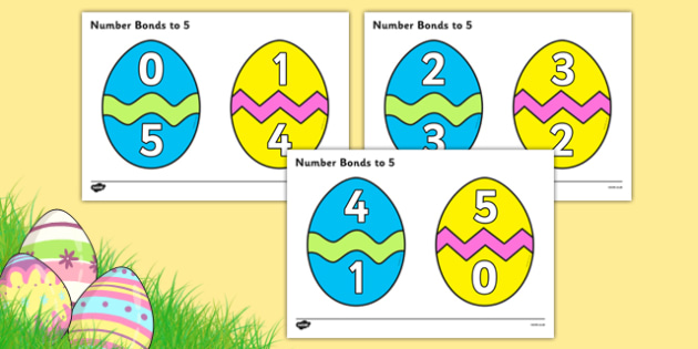 Easter Egg Number Bonds to 5 - Number Bonds, Easter, Easter Egg, Matching Cards, Clothing Cards, Number Bonds to five, bible, egg, Jesus, cross, Easter Sunday, bunny, chocolate, hot cross buns