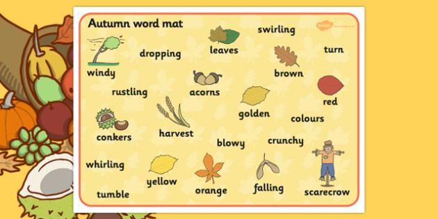 Autumn Word Mats - Word mat, Harvest, Autumn, seasons,  A4, display, harvest,  harvest festival, fruit, apple, pear, orange, wheat, bread, grain, leaves, conker