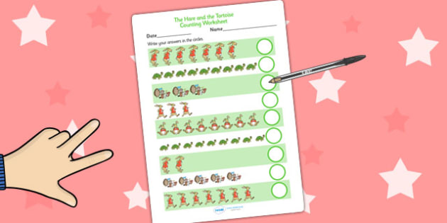 The Tortoise and The Hare Counting Sheet - counting aid, maths