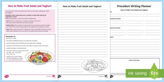 Year 5 Procedure Writing: How to Make Fruit Salad and Yoghurt Activity Sheets-Australia - Literacy, australia, australian curriculum, english, text type, procedural, procedure, naplan, asses