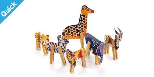 Enkl Safari Peg Animals Printable - Enkl, arts, crafts, activity, adult, home, decor, designer, designer, decoration, interior, project, printable, cute, simple, paper, models, 3D, shape, colour, geek, clean