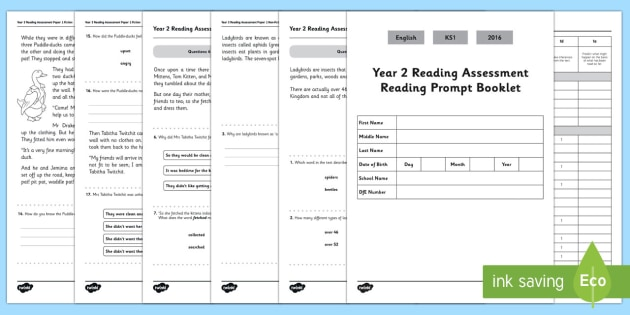 Year 2 Reading Assessment Paper 1 Term 1 - year 2, reading, assessment, paper, 1, pack, read