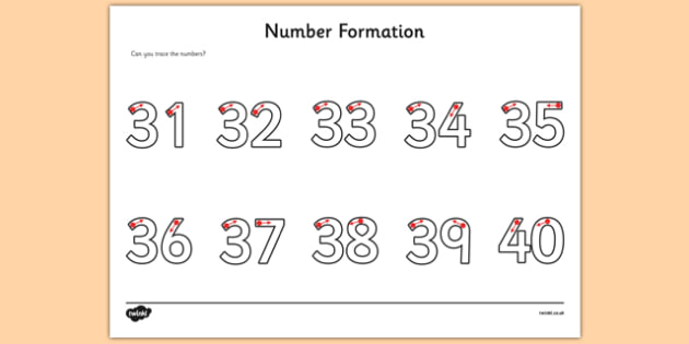 Number Formation Activity Sheet 31-40 - number formation, activity sheet, activity, number, formation, 31-40, worksheet, overwriting