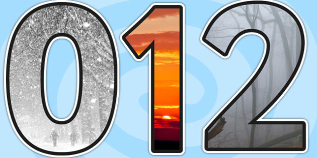Weather Themed A4 Photo Display Numbers - weather, lettering