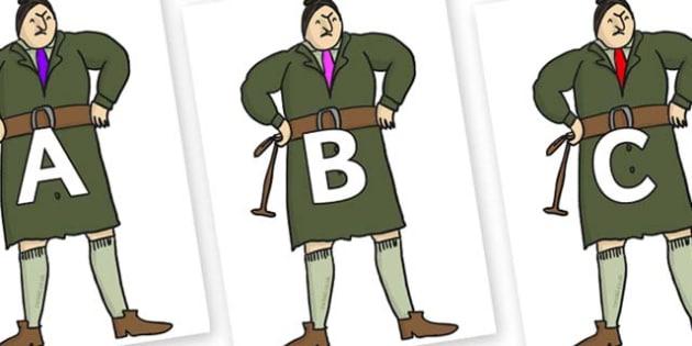 A-Z Alphabet on Mrs Trunchbull to Support Teaching on Matilda - A-Z, A4, display, Alphabet frieze, Display letters, Letter posters, A-Z letters, Alphabet flashcards