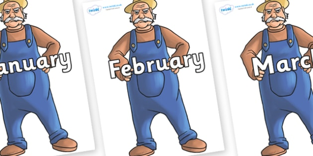 Months of the Year on Angry Farmer - Months of the Year, Months poster, Months display, display, poster, frieze, Months, month, January, February, March, April, May, June, July, August, September