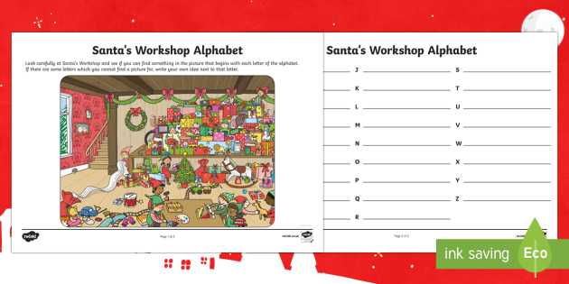 KS1 Santa's Workshop Alphabet Activity Sheet - Christmas, Nativity, Jesus, xmas, Xmas, Father Christmas, Santa, alphabet, alphabetical order, KS1,