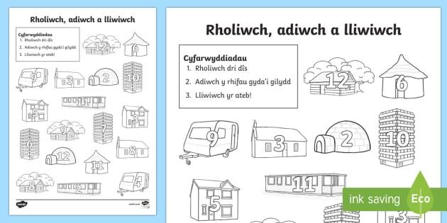 Tai a Chartrefi Taflen Rholio Dis a Lliwio-Welsh - taflen, rholio, lliwio, mathemateg, cyfri,Welsh