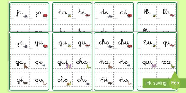 Tarjetas de sílabas: Bichos - Bichos, insectos, lecto, leer, lectura, primeras,