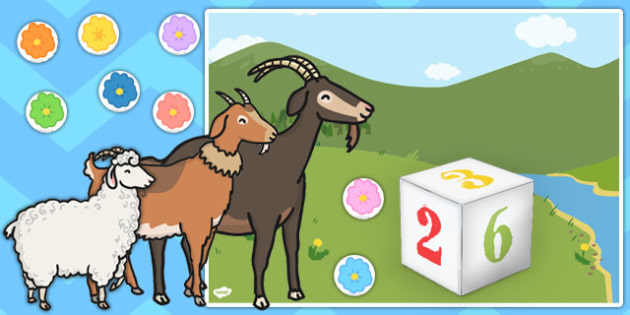 The Three Billy Goats Gruff Meadow Counting Game - counting