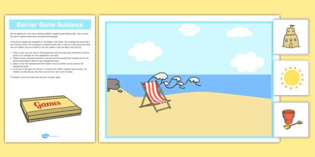 At The Seaside Barrier Game - language development, keywords, expressive skills, receptive skills, SLCN, barrier game, instructions