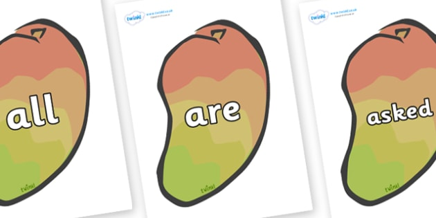 Tricky Words on Mangoes - Tricky words, DfES Letters and Sounds, Letters and sounds, display, words