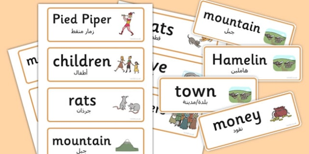 The Pied Piper Word Cards Arabic Translation - arabic, word cards