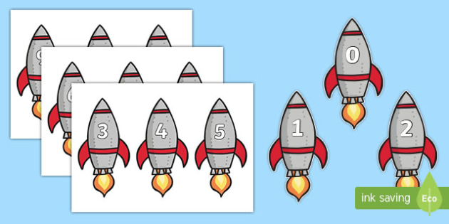 Numbers 0-20 on Rockets - numbers, rockets, space, 0-20, display