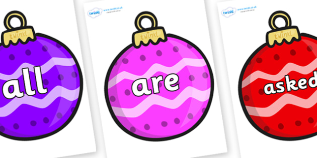 Tricky Words on Patterned Baubles (Multicolour) - Tricky words, DfES Letters and Sounds, Letters and sounds, display, words