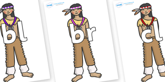 Initial Letter Blends on Native Americans - Initial Letters, initial letter, letter blend, letter blends, consonant, consonants, digraph, trigraph, literacy, alphabet, letters, foundation stage literacy