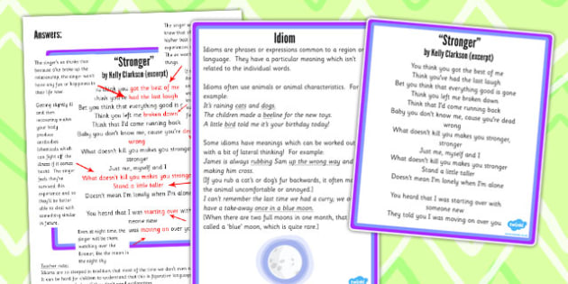 Y5 and 6 Figurative Language Activity and Reference Sheet Idiom