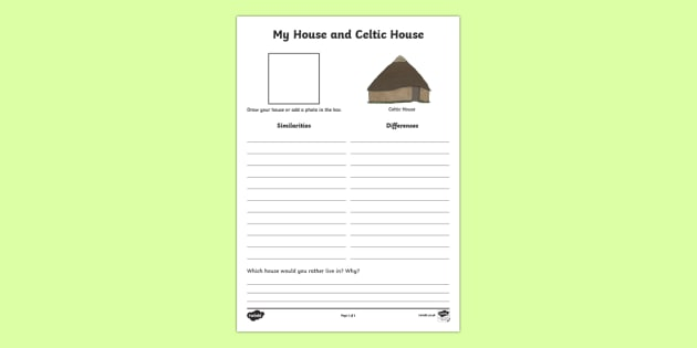 My House and Celtic House Comparison Activity Sheet