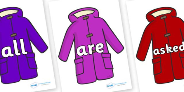 Tricky Words on Coats - Tricky words, DfES Letters and Sounds, Letters and sounds, display, words